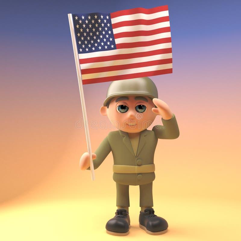 Saludos valientes del soldado del ejército mientras que sostiene la bandera americana, ejemplo 3d libre illustration