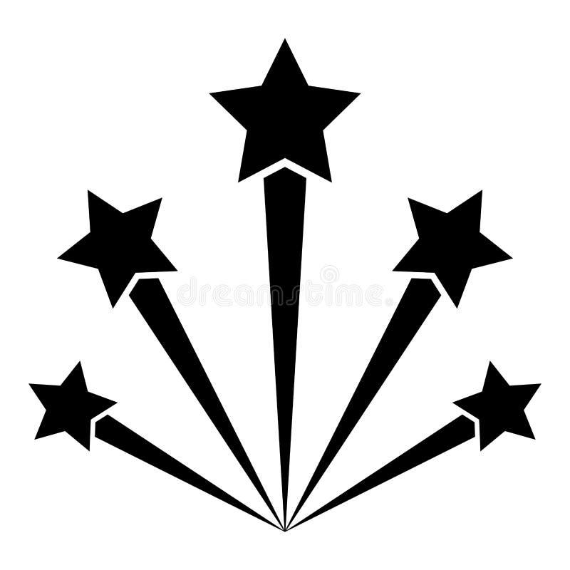 Saluez l'image simple de style plat d'illustration de couleur de noir d'icône de feu d'artifice illustration stock