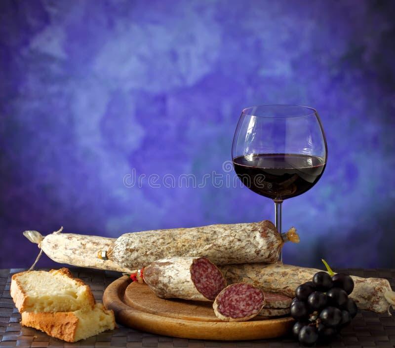 Salumi, kazen en wijn royalty-vrije stock afbeelding