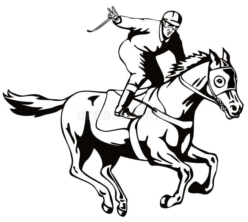 Salut de victoire de cheval et de jockey illustration de vecteur
