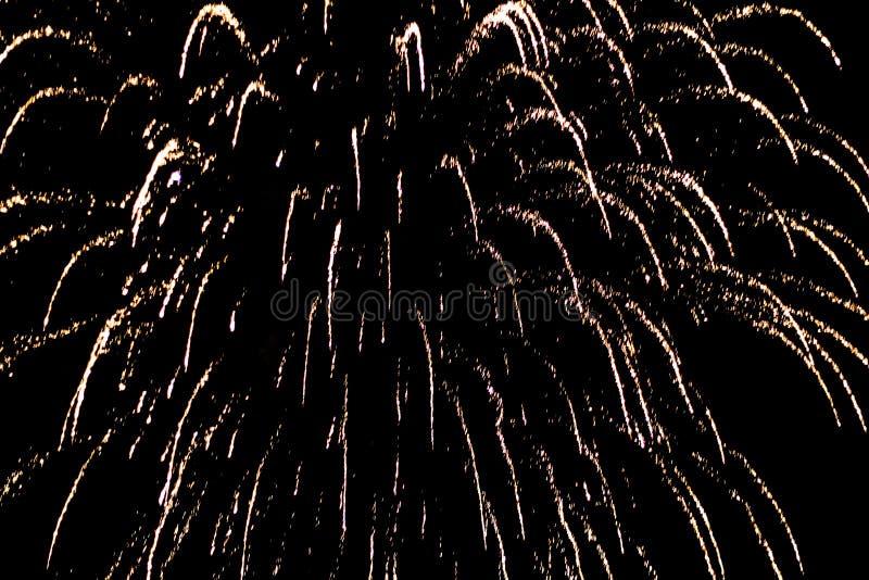 Salut, fajerwerki W nocnym niebie Pirotechniczny przedstawienie na wakacje Wybuch wiele petardy fotografia royalty free