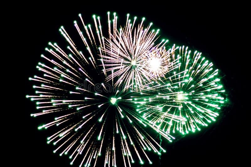 Salut, fajerwerki W nocnym niebie Pirotechniczny przedstawienie na wakacje Wybuch wiele petardy fotografia stock