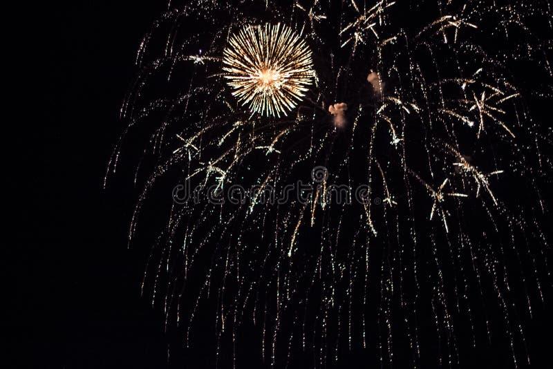 Salut, fajerwerki W nocnym niebie Pirotechniczny przedstawienie na wakacje Wybuch wiele petardy zdjęcie stock