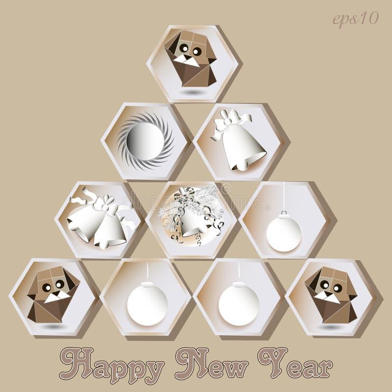 Salutation de chien de nouvelle année d'abstraction illustration libre de droits