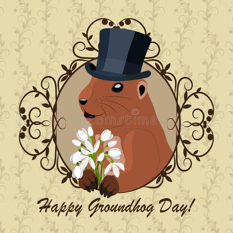 Salutation de jour de Groundhog illustration de vecteur