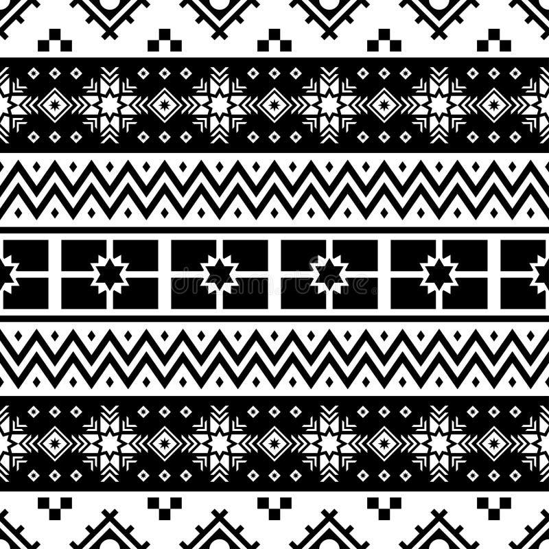 Salutation de Joyeux Noël avec employer le modèle sans couture de pin dans noir et blanc conception ethnique aztèque tribale Péru illustration de vecteur