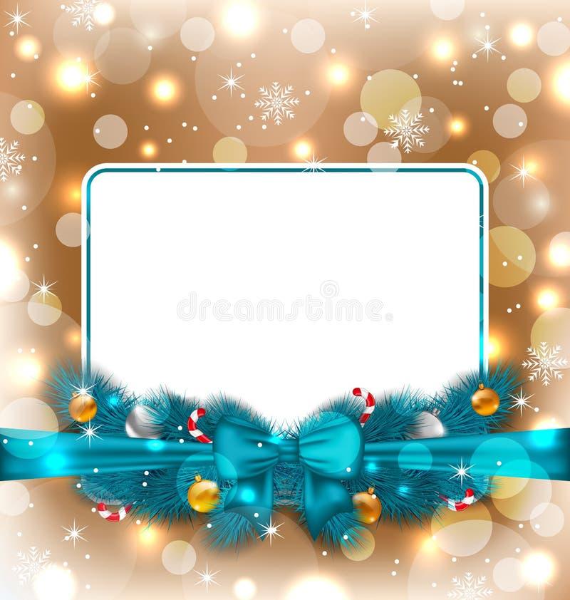 Salutation de la carte élégante avec la décoration de Noël illustration libre de droits