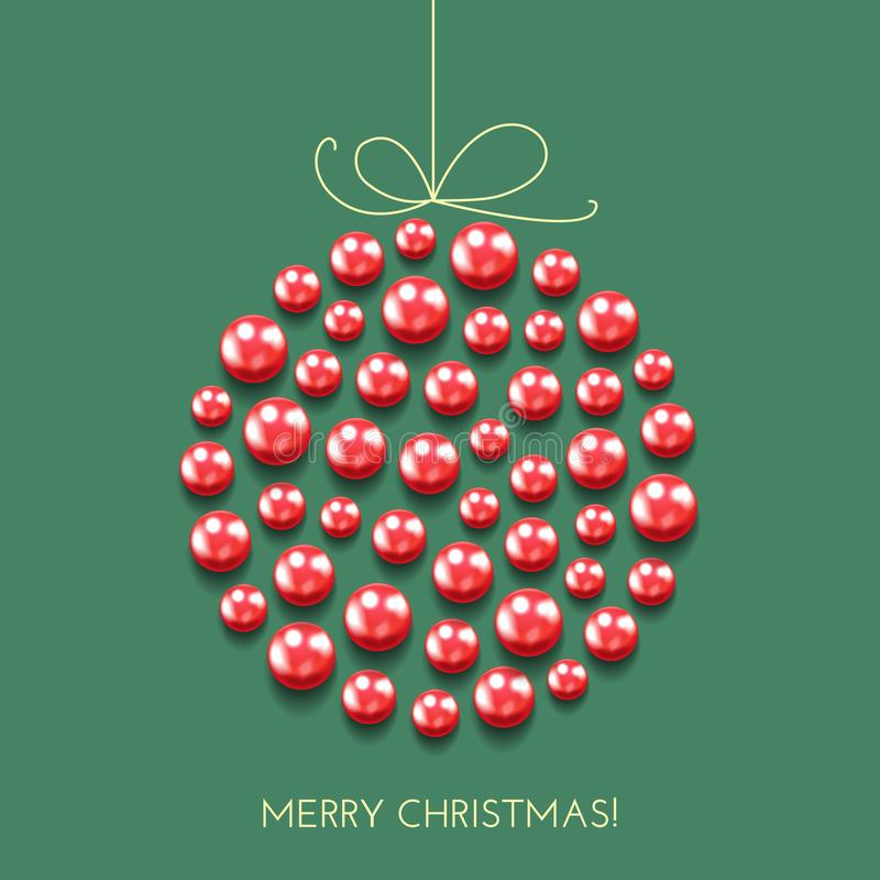 Salutation de la carte de Noël avec la boule de décor et la bannière de vacances illustration de vecteur