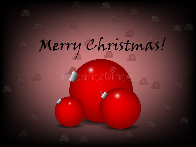 Salutation de Noël avec l'ornement rouge illustration de vecteur
