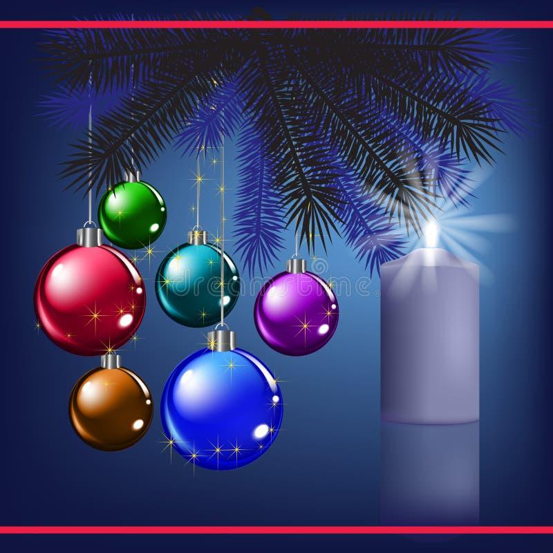 Salutation de Noël avec la décoration et la bougie illustration libre de droits