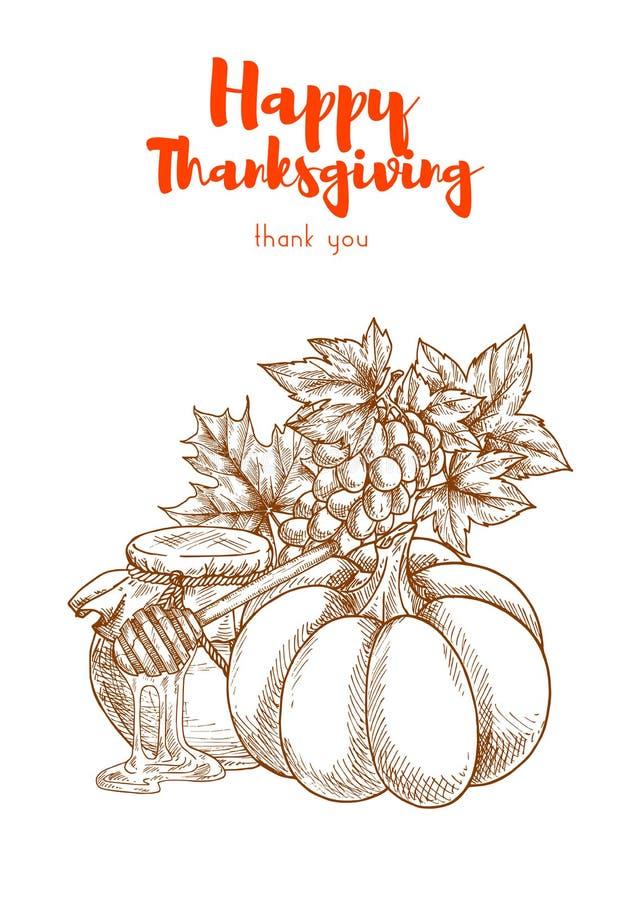 Salutation de récolte de légumes de thanksgiving rétro illustration de vecteur