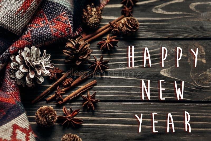 Salutation de signe des textes de bonne année avec l'hiver rustique élégant ou images libres de droits
