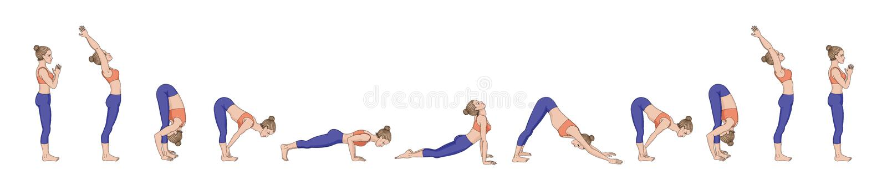 Salutation de Sun Namaskara A de Surya Ordre de yoga illustration libre de droits