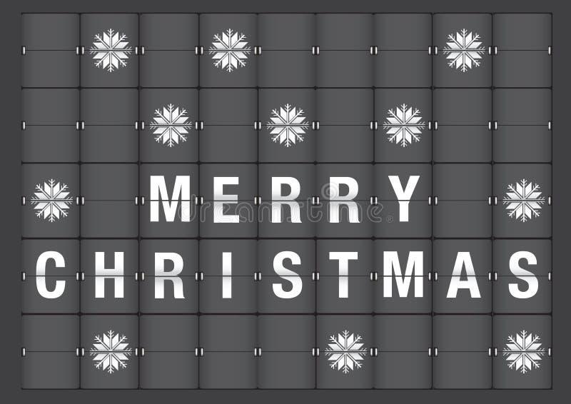 Salutation de vacances de Joyeux Noël dans le style de Flipboard d'aéroport illustration libre de droits