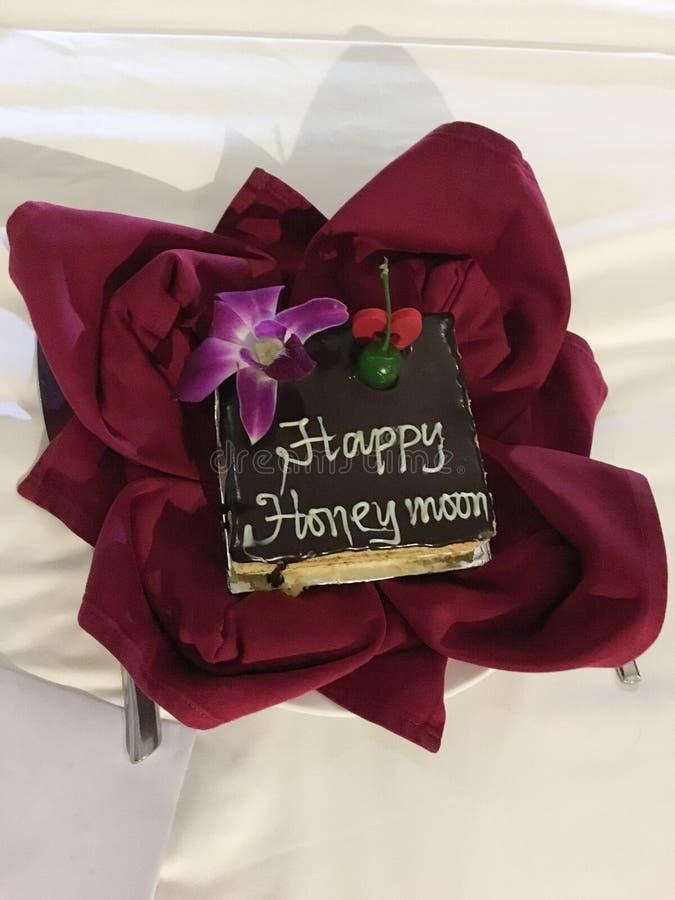 Salutation du gâteau pour les couples mariés photographie stock libre de droits