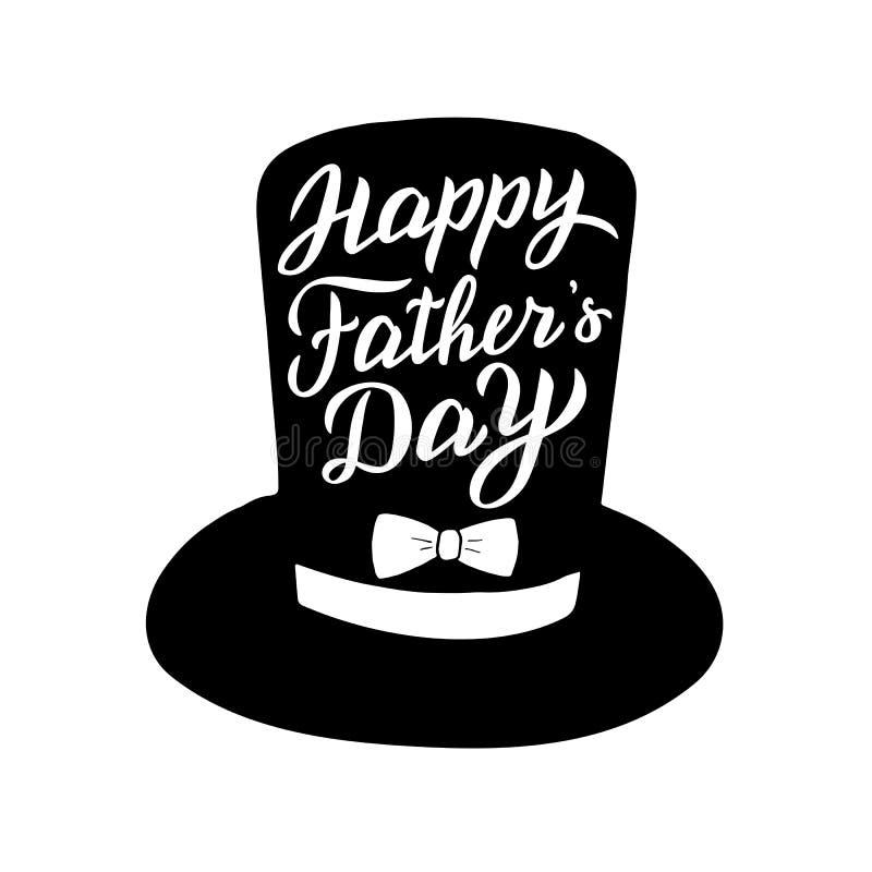 Salutation du jour de père dans un chapeau Carte d'inscription à la mode illustration libre de droits