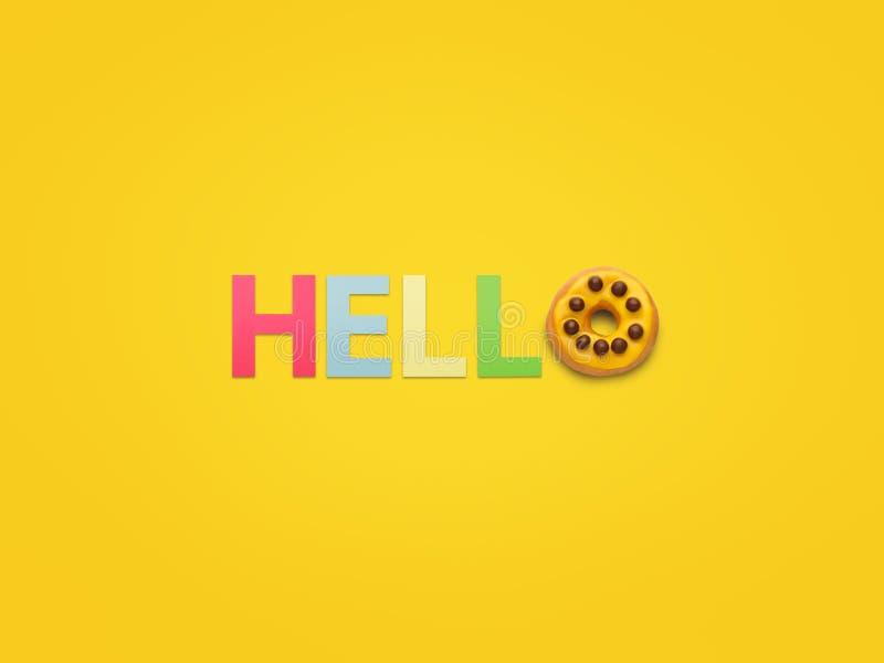 Salutation faite avec des lettres sur le jaune images stock