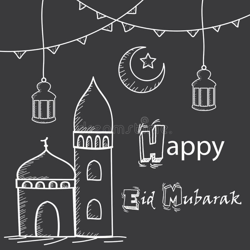 Salutation heureuse d'Eid Mubarak, style de dessin de main avec la mosquée, lanternes et croissant de lune illustration de vecteur