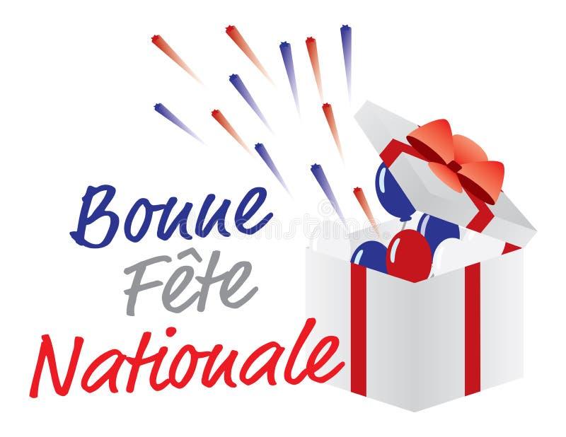 Salutation heureuse de jour de bastille de la France de jour national de Bonne Fte Nationale image libre de droits