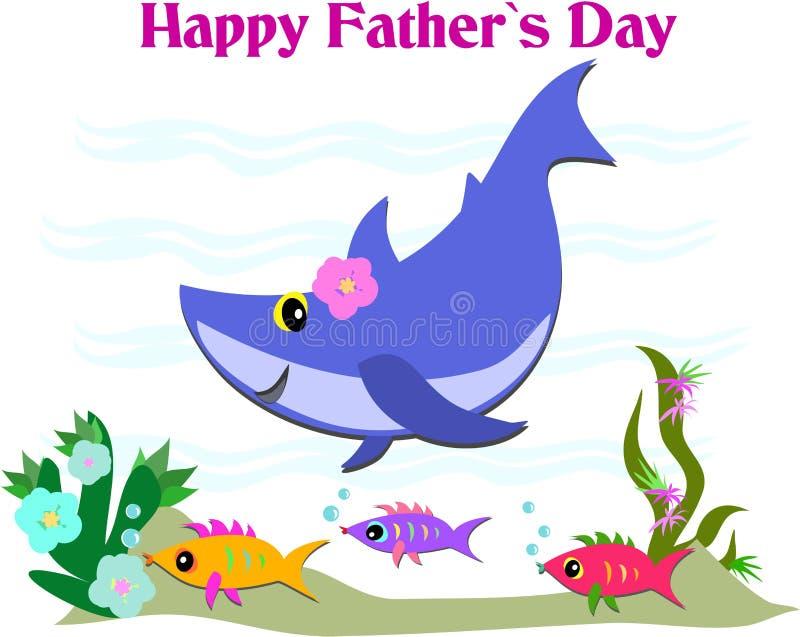 Salutation heureuse de jour de Fatherâs avec le requin et les poissons illustration de vecteur