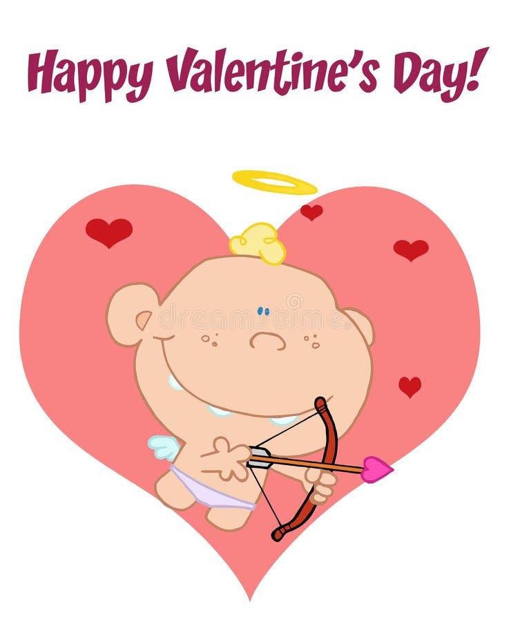Salutation heureuse du jour de Valentine au-dessus d'un cupidon de chéri illustration de vecteur