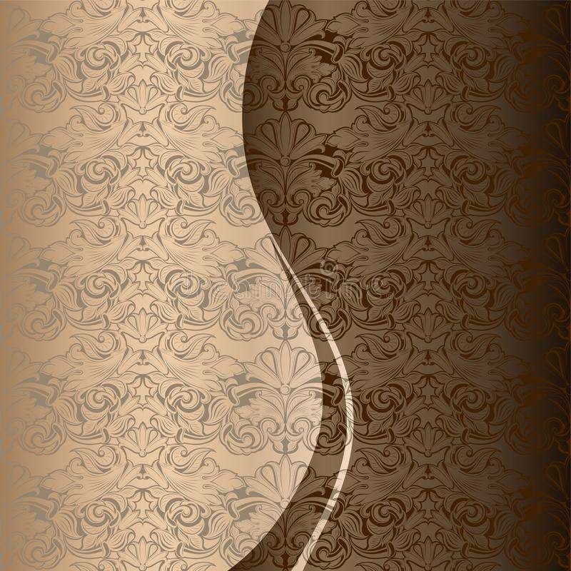 Salutation, invitation, mariage, carte dans le style de vintage en or, chocolat, nuances en bronze illustration stock