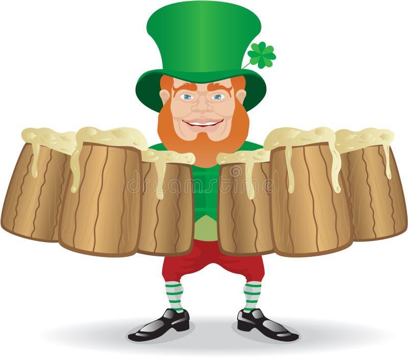 Salutation irlandaise d'homme avec des tasses illustration de vecteur