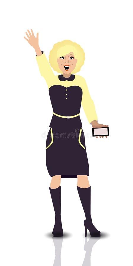 salutation La fille a soulevé sa main vers le haut de téléphone intelligent illustration stock