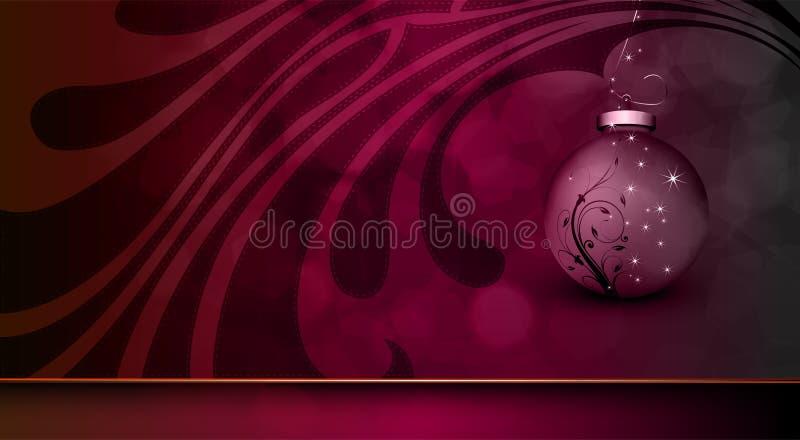 Salutation mauve-foncé de Noël avec le globe floral illustration de vecteur