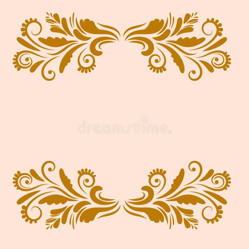 Salutation ornementale d'or, carte de congrats avec les frontières florales bouclées illustration libre de droits
