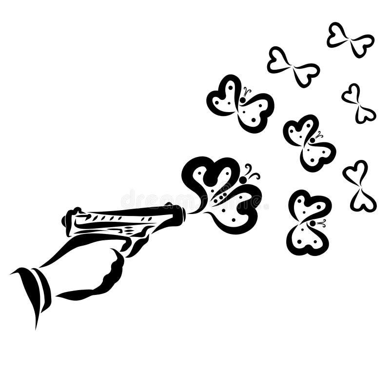 Salutation ou déclaration créative de l'amour, ou bon au lieu du mal illustration de vecteur