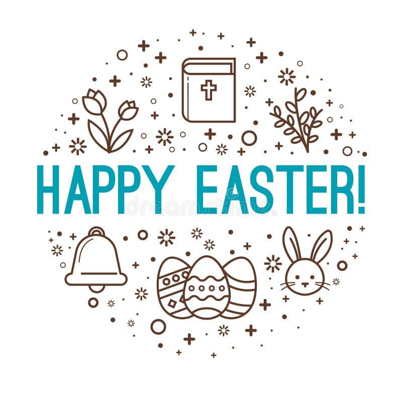 Salutations de cercle de Pâques Joyeuses Pâques photographie stock libre de droits