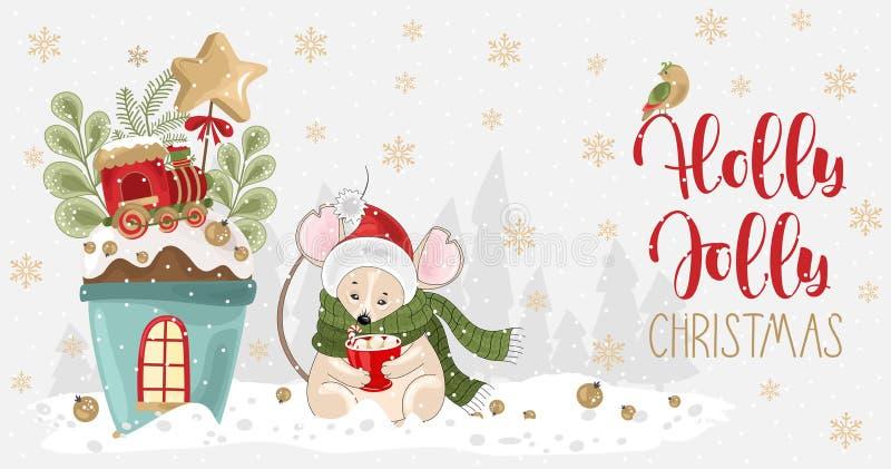 Salutations de Noël Holly Jolly avec la souris, la coupe festive, les branches et les bonbons illustration libre de droits