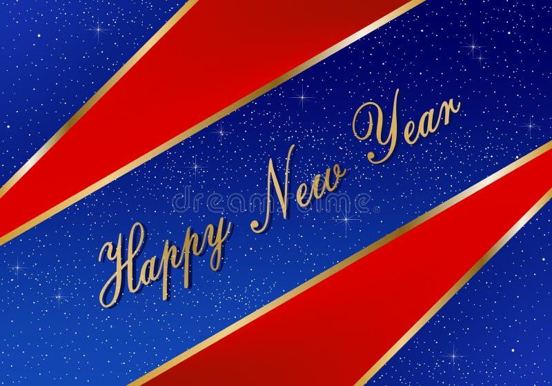 Salutations de nouvelle année pendant l'année 2019 avec le fond bleu lumineux avec les étoiles rougeoyantes et les triangles roug illustration libre de droits