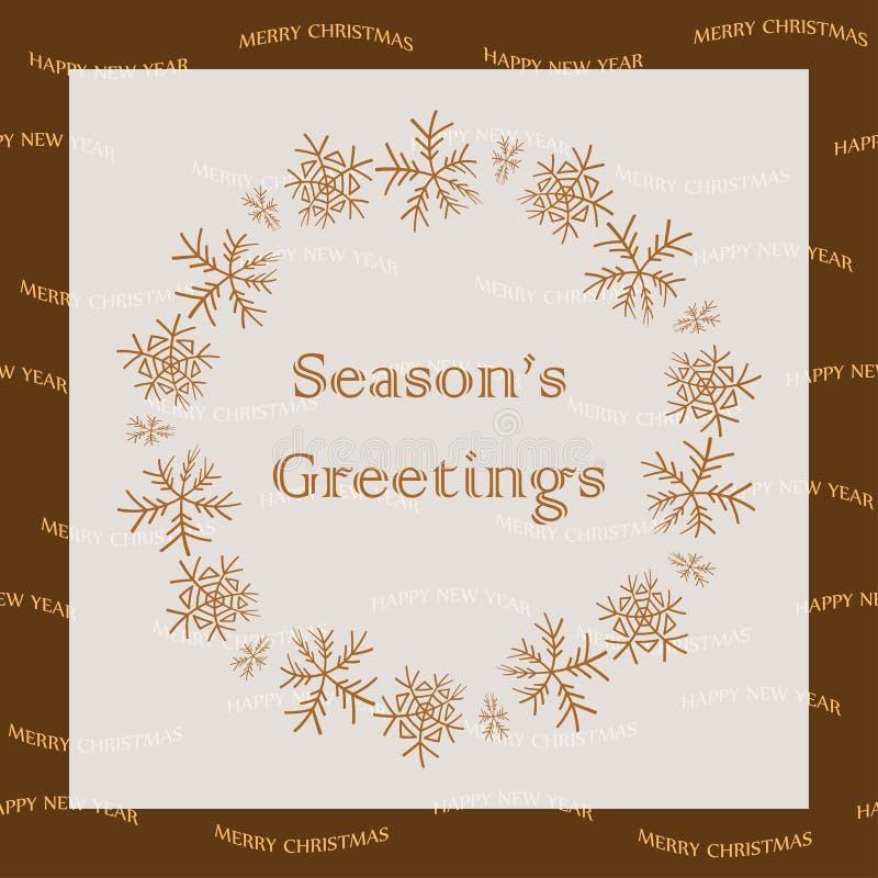 Salutations de saison - carte de voeux de vecteur avec des flocons de neige illustration libre de droits