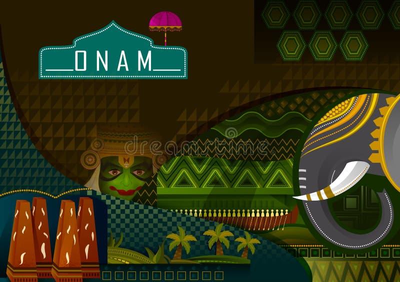 Salutations heureuses de festival d'Onam pour marquer le festival indou annuel du Kerala, Inde illustration stock