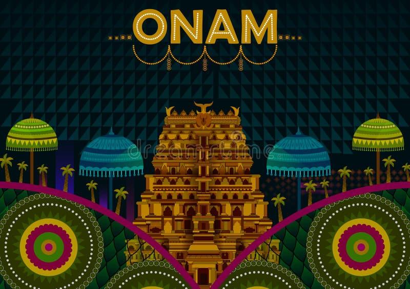 Salutations heureuses de festival d'Onam pour marquer le festival indou annuel du Kerala, Inde illustration de vecteur