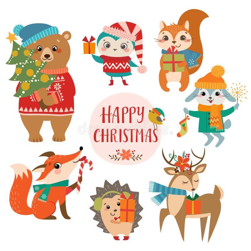 Salutations mignonnes de Noël illustration de vecteur