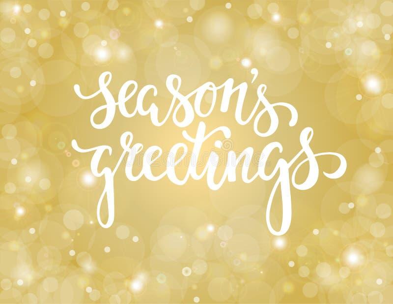 Salutations tirées par la main du ` s de saison de lettrage conception pour des cartes de voeux et des invitations de vacances illustration de vecteur