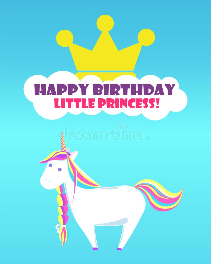 Salutations Unicorn Rainbow pu?ril de joyeux anniversaire illustration de vecteur