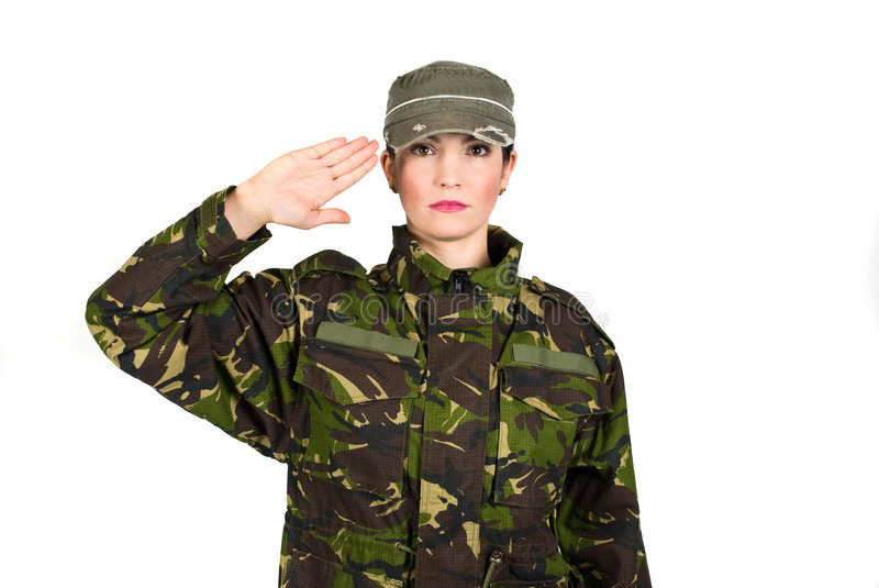 Salute. Woman army soldier saluting isolated on white background,check also stock image