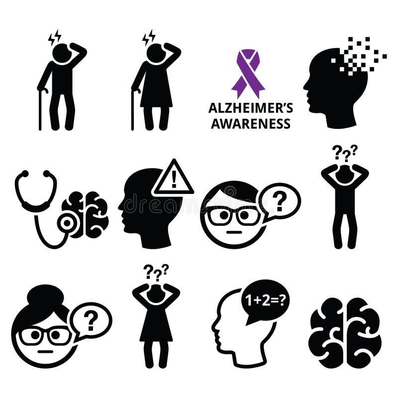Salute degli anziani - morbo di Alzheimer e demenza, icone di perdita di memoria messe royalty illustrazione gratis