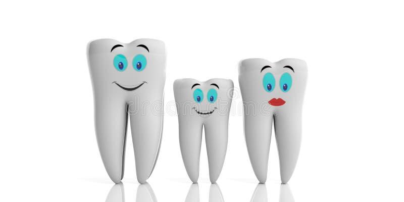 Salute dei denti della famiglia Modelli brillanti puliti del dente, con i emojis isolati su fondo bianco illustrazione 3D illustrazione vettoriale