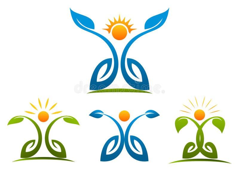 Salute della gente, pianta, crescita, natura, botanica, logo, benessere illustrazione di stock