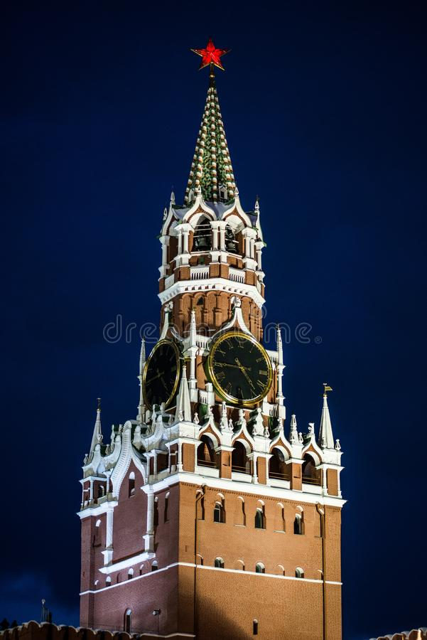 Salute in honor of the new year 2019 on red square against the Kremlin, Spasskaya tower. And St. Basil`s Cathedral stock images