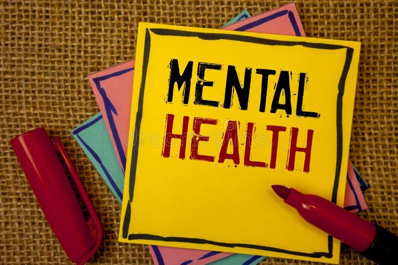 Salute mentale del testo della scrittura Concetto che significa benessere psicologico ed emozionale di circostanza di una persona fotografie stock libere da diritti
