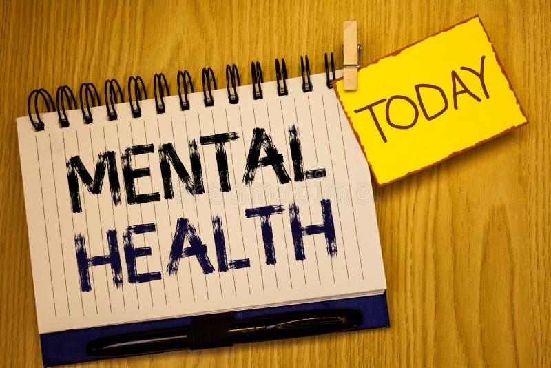 Salute mentale del testo di scrittura di parola Concetto di affari per benessere psicologico ed emozionale di circostanza di una  immagine stock libera da diritti