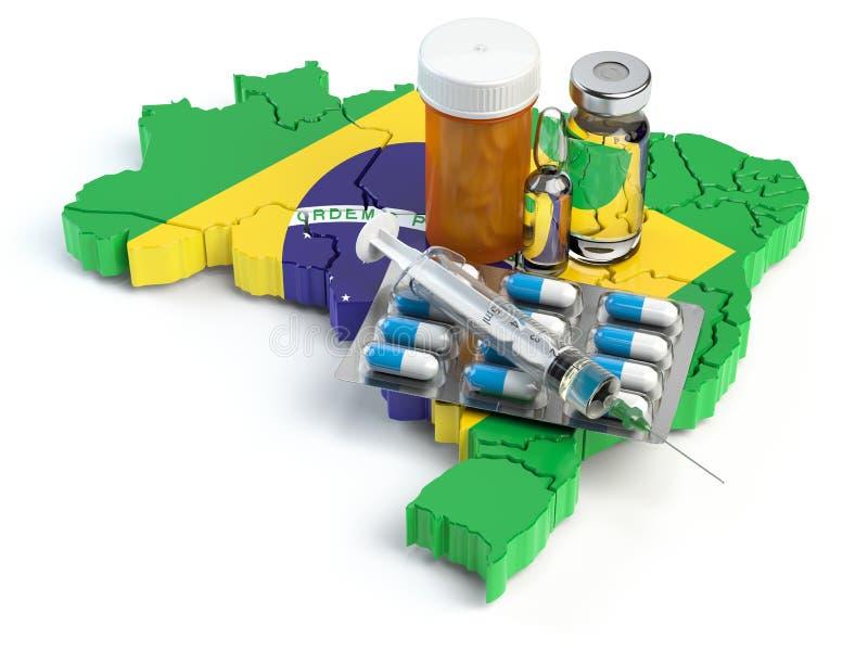 Salute, sanità, medicina e farmacia nel concetto del Brasile Pil illustrazione vettoriale