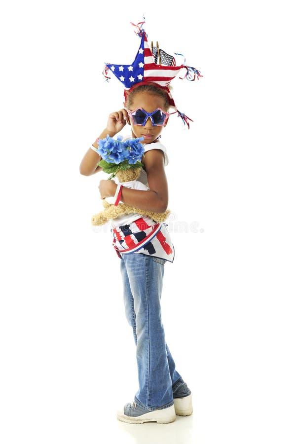 Saluti da un giovane patriota fotografia stock