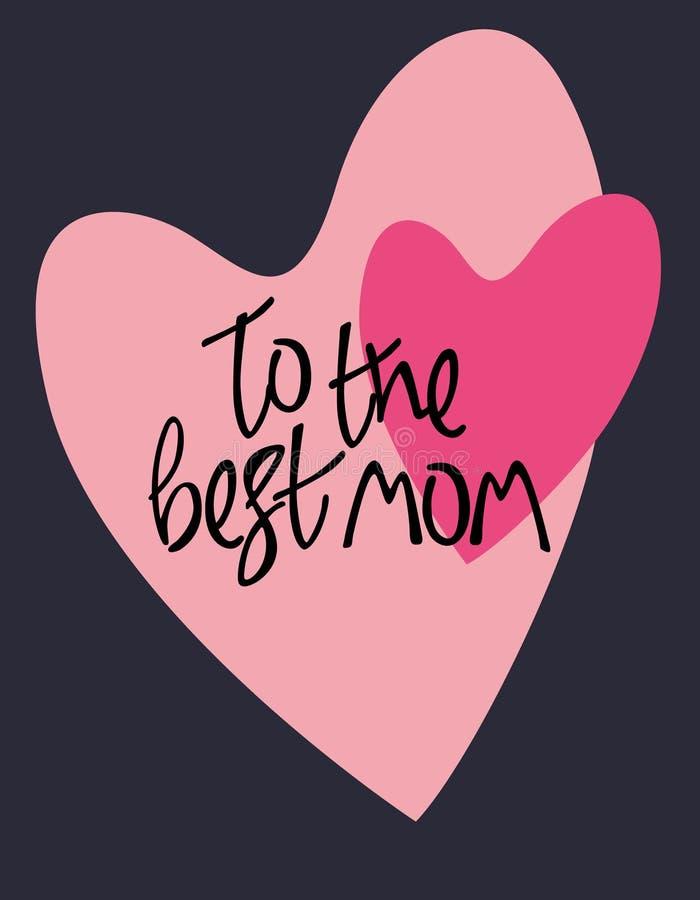 Saluti di giorno di madri Due cuori ed iscrizioni della mano sul fondo nero illustrazione di stock